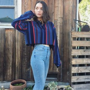 Vintage 90s cropped long sleeve striped shirt top
